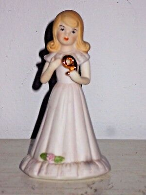Growing Up Birthday Girl Age 9 Blonde Enesco Porcelain Collectible Figurine 5""