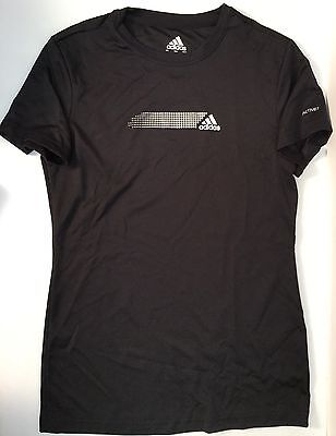 Adidas Active Women's T-Shirt Workout Athletic Short Sleeve Black Glitter Size S