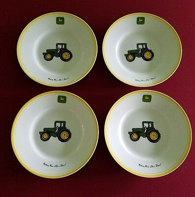 "John Deere Soup Salad Plate Dish Gibson Large Rim 9"" Set 4 Bowls Large Tractor"
