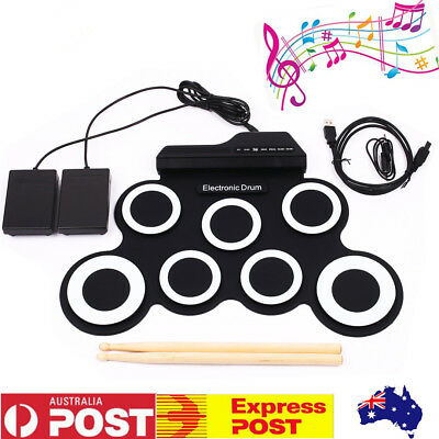 Drum Set Record Stick Pad Silicon Electric Portable Electronic Roll Up Kit AU