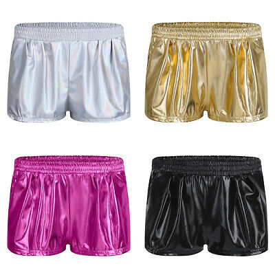 Womens Patent Leather Pants Hot Shorts Loose Boxer Running Gym Fitness Workout