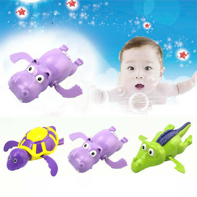 Wind up Swim Turtle/Hippopotamus/Crocodile Pool Animal Toy For Baby Kid Bath JU