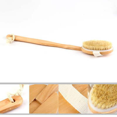 Natural Long Wood Wooden Body Brush Massager Bath Shower Back Spa Scrubber WAI