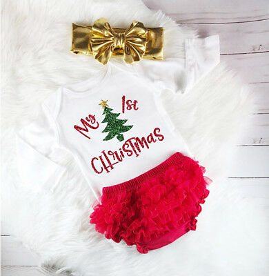 AU Stock Xmas Newborn Baby Girls Clothes Romper Lace Ruffle Shorts Outfits Set