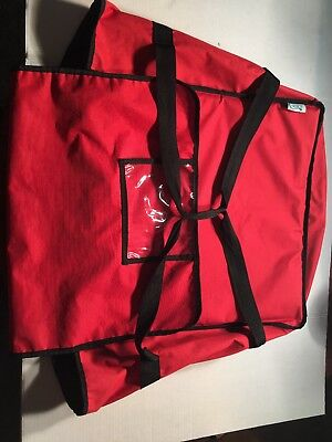 "20"" X 20"" X 12""Red Nylon Insulated Pizza Cafe Deli Take Out Delivery Bag"