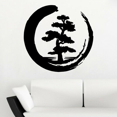 Vinyl Wall Decal Enso Tree Of Life Zen Circle Buddhism Yoga Stickers Removable