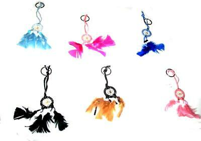 Hand Crafted Dream Catcher Charms Key Chain Ring Key Holder Aztec Indian Feather