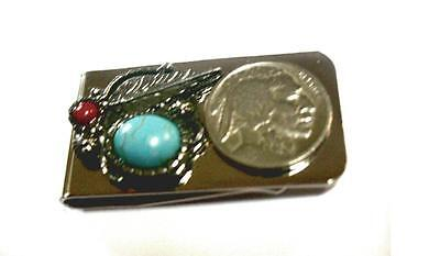 Native American Style Money Clip Holder Buffalo Coin Leaf Turquoise Coral