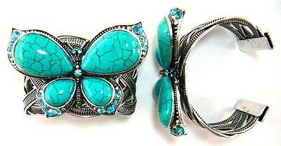 Butterfly Bracelet Blue Turquoise Cuff Style Big Fashion Butterfly
