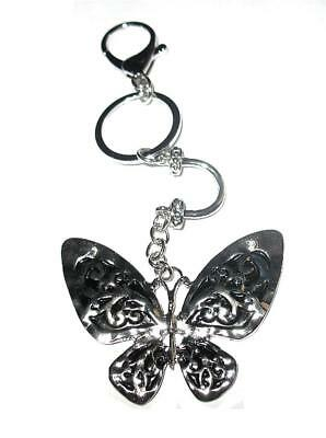 Butterfly Pendant Charm  Key Chain Ring  Antique Metal Silver Tone Key Holder
