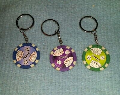 Lot of 3 poker chip keychains