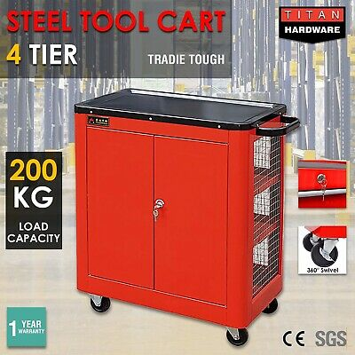 Tool Cart Trolley Heavy Duty Metal 4 Tier Mechanic Industrial Lock Drawer 200KG
