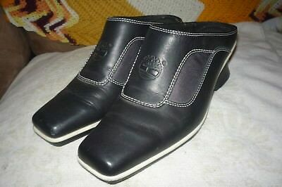 Women's Timberland 7 B Black Leather Backless Square Toe Mules Medium