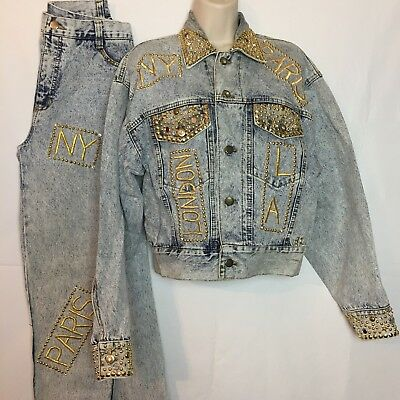 Vintage Tamorah Marie Womans 2Pcs Jean Denim Jacket Sz.Small & Pants Sz.6 #J38