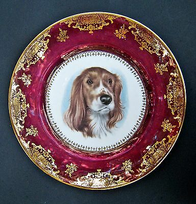 Limoges Dog English Setter Porcelain Lusterware Purple Gold Plate Charger 11""