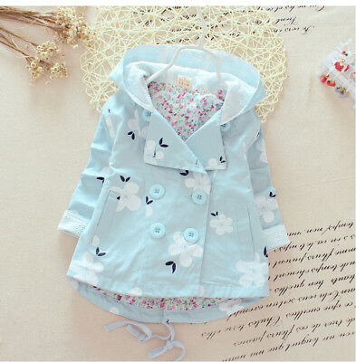 Girls Kids Jacket Coat Trench Coat Blue White Flower Hooded Windbreaker