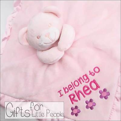 Personalised pink baby teddy bear comforter blanket,embroidered christening gift