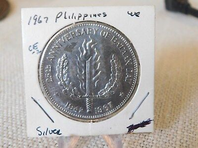 1967 PHILIPPINES ONE PESO SILVER COIN,  25th ANNIVERSARY BATAAN DAY