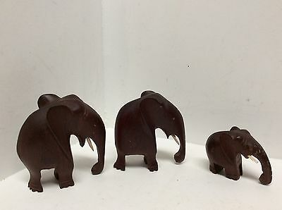 carved wooden elephants of different sizes set of three  Y7