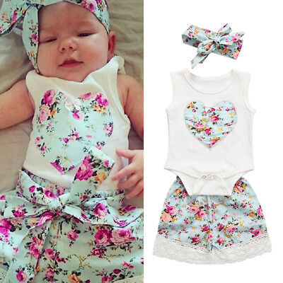 AU Stock Toddler Baby Girl Sleeveless Top Romper Shorts 3Pcs Outfits Set Clothes