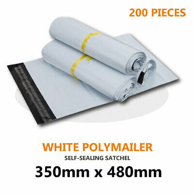 200pcs 350 x 480mm Poly Mailer Plastic Satchel Courier Self Sealing Shipping Bag