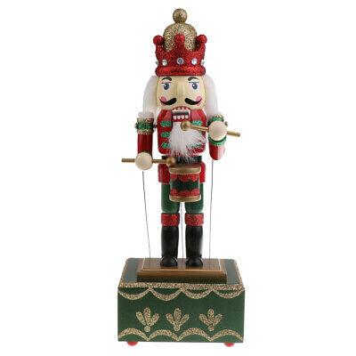 Christmas Wood Music Box Traditional Nutcracker Soldier/Drummer Table Ornament