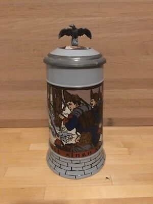 """METTLACH 7.5"""" STEIN d1904 """"SOLDIERS IN THE FOREST"""" BY 'MC' 1/2 LITER #2833E MINT"""