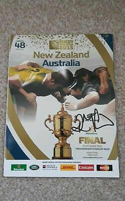 richie mccaw signed 2015 rugby world cup final programme *photo* all blacks
