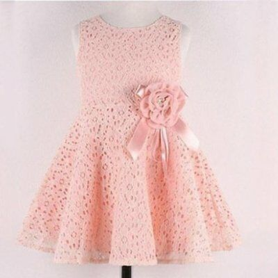 2-7Y Baby Girls Lace Dresses One Piece Floral Toddler Infants Princess Dress