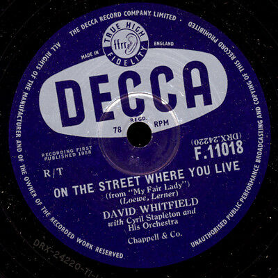 "DAVID WHITFIELD ""My Fair Lady"" On the street where you live / Afraid 78rpm S6994"