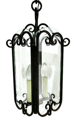 Vintage Wrought Iron Lantern Ornate Brass Etched Glass Chandelier Pendant