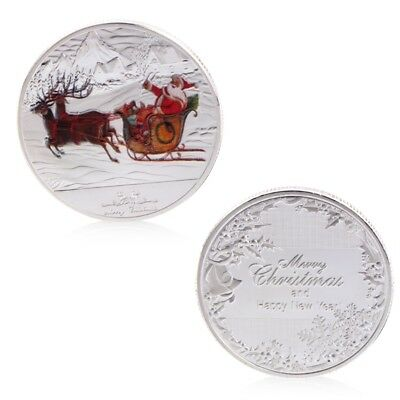 Silvery Merry Christmas New Year Santa Claus Deer Sleigh Commemorative Coin Gift