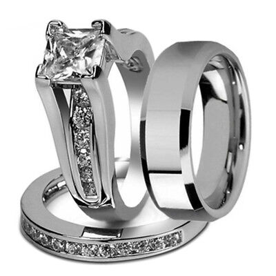 His and Hers Stainless Steel Princess Wedding Ring Set and Beveled Edge Wed E3E1