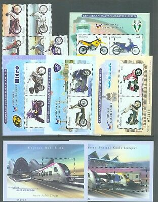 Malaysia 2002-3 Trains, set of 2 ms Motorcycles set of 5 and 4 ms MNH