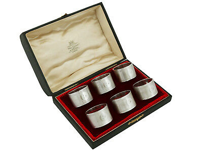 Antique George V Sterling Silver Napkin Rings Set of Six by Emile Viner 1930s