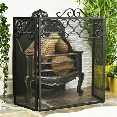 """Holmwood Manor"" Black Ornate Three Panel Fireguard Or Fire Screen"