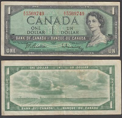 Canada 1 Dollar 1954 (1961-1972) Banknote (VF) Condition QEII KM #74b
