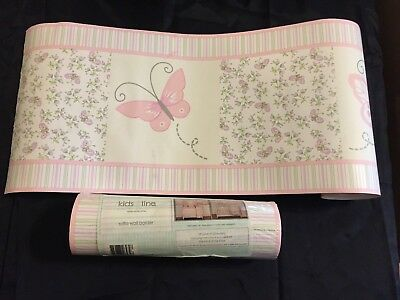 GIRLS Kids Line BEDROOM WALLPAPER BORDER BUTTERFLY FLOWERS BIRDS DECOR 2 rolls