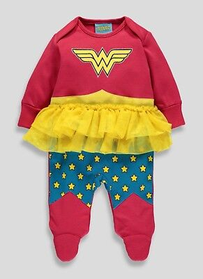 New Baby Girls Size Newborn 0-3 3-6 6-9 Wonder Women Sleepsuit Baby Grow Outfit