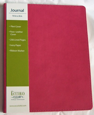 "NEW ~ Eccolo Simply Pink Faux Leather Lined Journal, 8"" x10"" ~ Free Shipping"