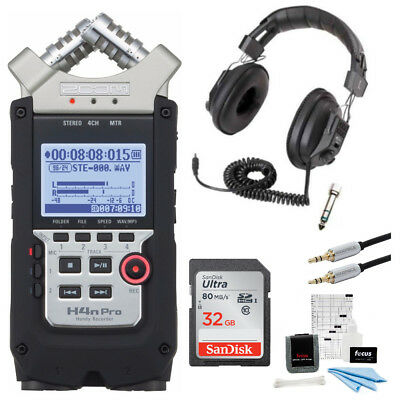 Zoom H4N PRO Four-Track Handy Audio Recorder with Headphones & Accessory Bundl