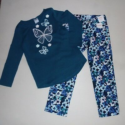 Gymboree Girls Butterfly Tee Floral Pants 4 NWT