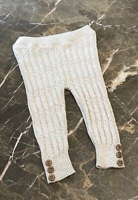 Baby Girls Cream Trousers Leggings Footless Tights Cable Knit 100% Cotton 0-23M