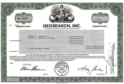 Geosearch Inc., New York, 1981 (150 Shares)