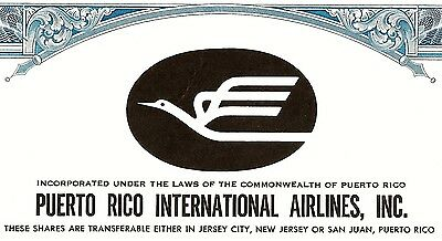 Puerto Rico International Airlines Inc., 1972 (100 Shares)