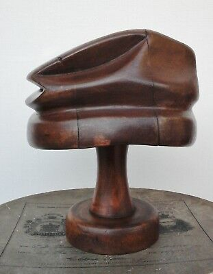 Victorian Wooden Hat Block/Form with Stand Unusual Shape, Millinery Display.