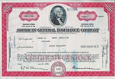 American General Insurance Company, Texas, 1976 (5.000 Shares)