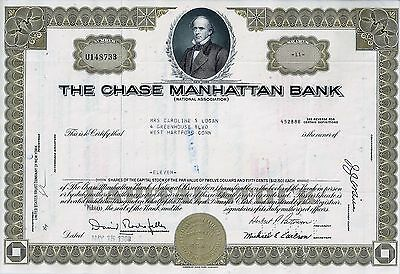 The Chase Manhattan Bank, New York, 1969 (11 Shares) sig.Rockefeller + Patterson