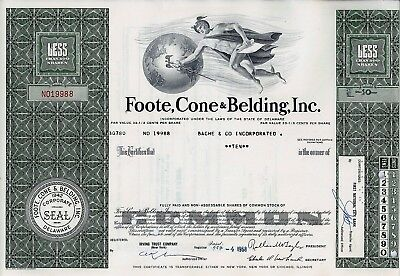 Foote, Cone & Belding, Inc., Delaware, 1968 (10 Shares)