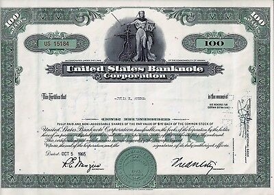 United States Banknote Corporation, Virginia 1965  (100 Shares) Top-Vignette